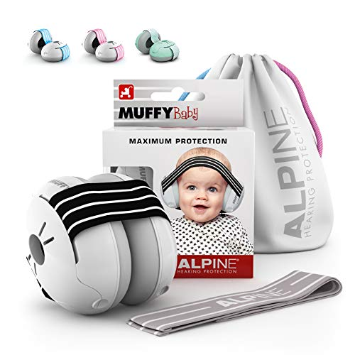 Alpine Muffy Baby Ear Protection for Newborn and Babies up to 36 Months – Noise Reduction Earmuffs for Toddlers & Children – Comfortable Infant Ear Muffs Prevent Hearing Damage & Improve Sleep, Black