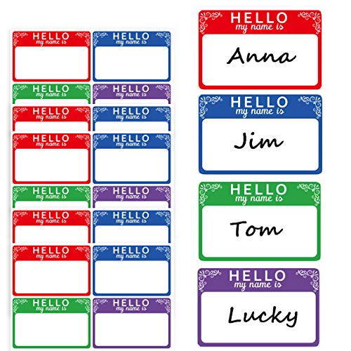 Hello My Name is Stickers Name Tag Labels 2X3 inch Colorful Stickers for Kids Pack of 300