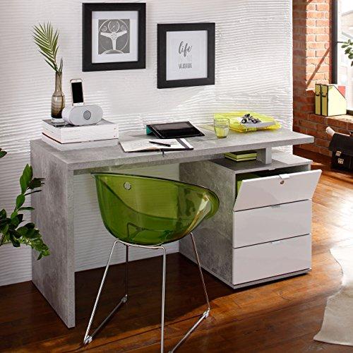 lisel-de Modell 2016 Computertisch Schreibtisch Maja in Betonoptik/Weiß Hochglanz 140x75x60cm