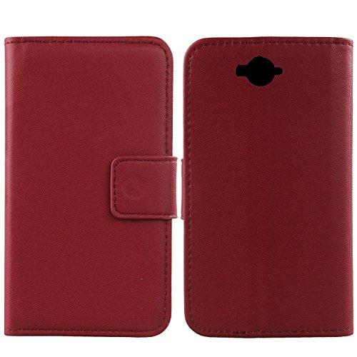 Gukas Design Echt Leder Tasche Für Doogee Homtom HT10 Hülle Handy Flip Brieftasche mit Kartenfächer Schutz Protektiv Genuine Premium Hülle Cover Etui Skin (Dark Rot)
