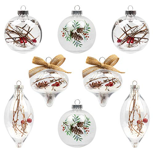 KI Store Clear Christmas Balls Set of 8 Large Christmas Ball Ornaments with Red Berry Snow Decorative Hanging Ornaments for Xmas Tree Woodland Themed