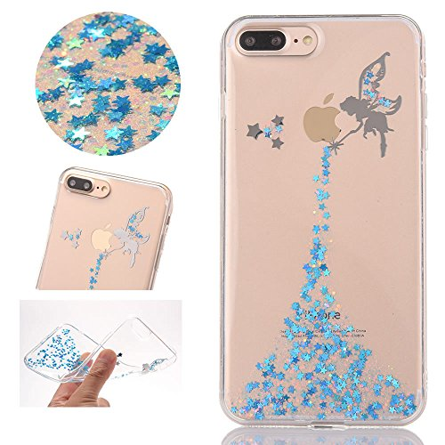 Sycode Coque pour iPhone 8,Ultra Mince Luxe Glitter Transparent Beau Rose Fée Fairy Modèle Silicone Strass Cover pour iPhone 8/7 4.7\