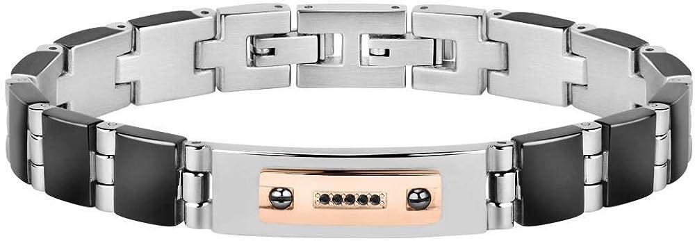 Morellato, bracciale per uomo, collezione gold, in acciaio, oro rosa 18k/750, zirconi, pvd nero 8033288881476