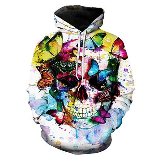 ZHANSANFM Halloween Kostüme Hoodie Herren Unisex 3D Bunte Skelett Print Sweatshirt Langarm Pullover Retro Regular Fit Elegant Kapuzenpulli Warme Weihnachten Kapuzenjacke Party Shirt (L, Weiß1)