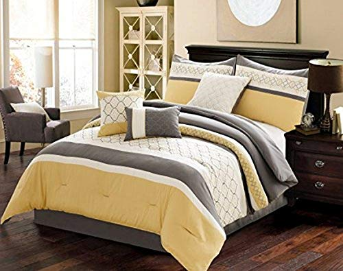 Riverbrook Home Verdugo Comforter Set, King, Yellow/Grey, 7 Piece