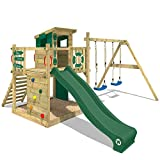 WICKEY Aire de jeux Portique bois Smart Camp avec balançoire et toboggan vert, Cabane enfant exterieur avec bac à sable, échelle d'escalade & accessoires de jeux