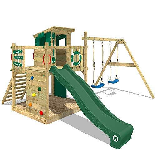 WICKEY Spielturm Klettergerüst Smart Camp mit Schaukel & grüner Rutsche, Spielhaus mit großem Sandkasten, Kletterwand & viel Spiel-Zubehör
