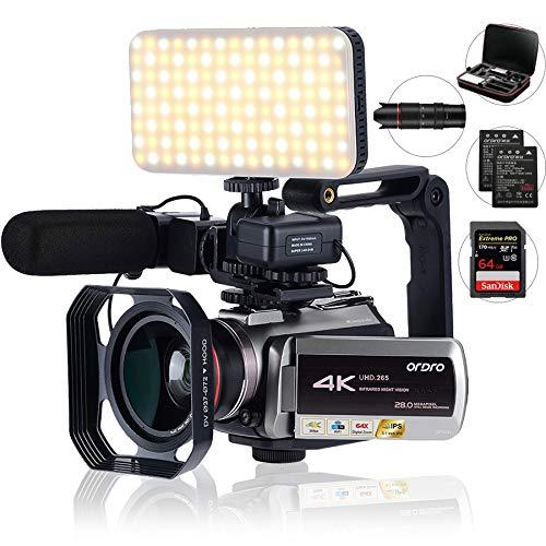 Videocámara 4K, UHD. 265 codificación de Video WiFi Transferencia 2.4G / 5G, con Zoom Digital 64X, conexión con telescopio/micrófono (Bolsa de cámara y Tarjeta SD de 32GB)