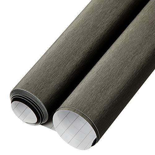 HOHOFILM Película de Vinilo de Aluminio Cepillado, sin Burbujas, Gris Oscuro, 50 cm x 200 cm