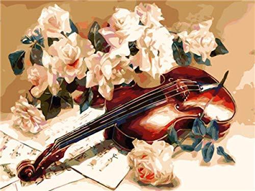 QIANERA Malen nach Zahlen Geige DIY Leinwand Ölgemälde Erwachsene und Kinder anfänger Dekoration 40 x 50 cm