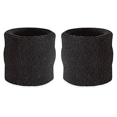 Suddora Wrist Sweatbands - Athletic Cotton Terry Cloth Wrist Bands for Basketball, Tennis, Football, Baseball (Pair)