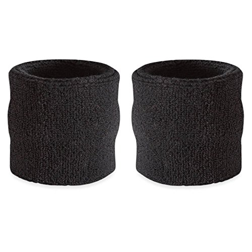Suddora Wrist Sweatbands Also Available in Neon Colors - Athletic Cotton Terry Cloth Wristbands for Sports (Pair) (Black)