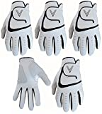 5 White Men's All Weather Golf Gloves Cabretta Leather Thumb & Palm Patch (Med/Lge L/H)
