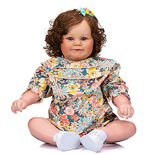 Realistic Reborn Toddler Girl Doll 24 Inch 60cm Soft Silicone Real Life Baby Girl Doll Cloth Body with Brown Hair