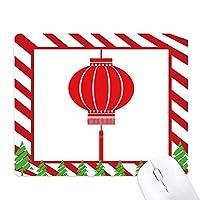 赤の伝統的な中国のランタンのパターン ゴムクリスマスキャンディマウスパッド
