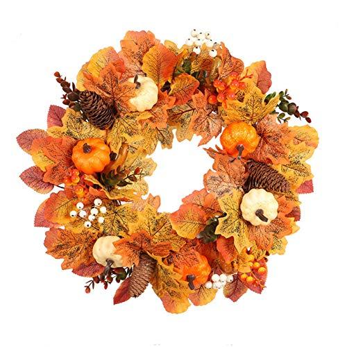 staywithu 2020 Fall Wreath,17.7inch Thanksgiving Harvest Door Wreath,Artificial Maple Leaf Berry Pumpkin Wreath,Halloween Easter Wreath for Front Door with Pumpkins, Ideal