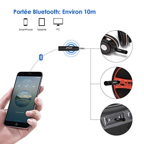 Récepteur Bluetooth 4.1 Voiture, ieGeek Mini Adapteur Audio sans Fil, Kit Voiture Mains Libres avec Sortie Stéréo Supporte Le Système Audio 3.5mm Jack pour Casque, Téléphone, PC, Tablette, Véhicule
