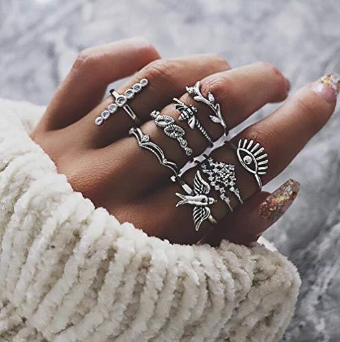 Deniferymakeup 9 stks Vintage Zilver Vogel Bee Crown Eye Diamanten Ring Casual Vrouwen Verklaring Zilveren Ring Set Gift Voor Haar Gift Voor Meisjes Tieners