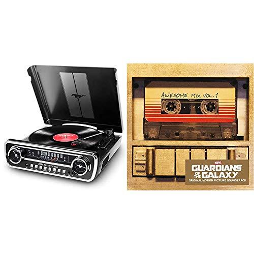 ION Audio Mustang LP - USB Plattenspieler mit Lautsprecher/Schallplattenspieler Retro mit Radio, Aux-Eingang und Vinyl zu MP3 Kovertierungssoftware & Guardians of The Galaxy: Awesome Mix Vol.1