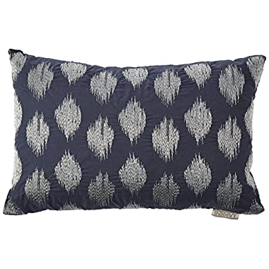 Ink+Ivy Nadia Dot Embroidered Cotton Modern Throw Pillow, Casual Fashion Oblong Decorative Pillow, 12X18, Navy