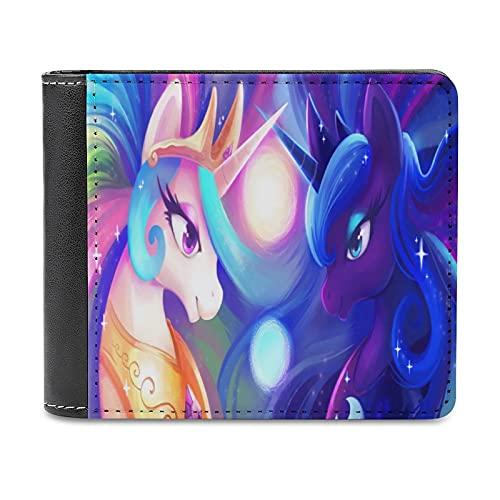My Rainbow Little Pony Celestia and Luna Wallet, unisex de cuero suave delgado estilo de negocios, tarjeta de viaje tarjeta de autobús titular de tarjeta de crédito funda titular monedero