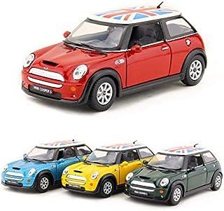 Welly Mini Cooper British Union Jack Flag Roof Model Car 1:36 Escala Diecast Metal Apertura Puertas Pullback Go Acción Color Aleatorio
