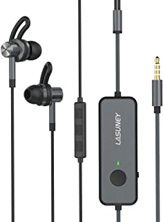 Lasuney Active Noise Cancelling Earbuds, Active Noise Cancelling Earphones, 20H Playtime ANC Wired Earbuds in Ear Stereo Awareness Monitor Headphones with Microphone and Built-in Magnets