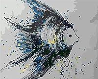 大人のための数字によるDIYペイント子供初心者学生キャンバス絵画の数字キットによるキャンバス絵画ブラシとアクリル顔料を使ったDIYギフト誕生日家の壁の装飾 魚の海の動物 フレームなしで40x50cm