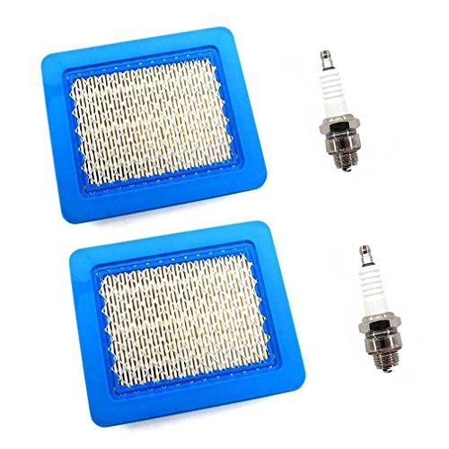 AISEN 2x Luftfilter mit Zündkerze für Briggs & Stratton 3-5 PS Quantum Sparpack 625 650 675 Series 491588S 399959