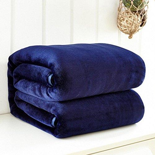 Iusun Super Soft Flannel Blanket Solid Micro Plush Fleece Blanket Throw Rug Sofa Bedding Warm (19.7x27.5, Blue)