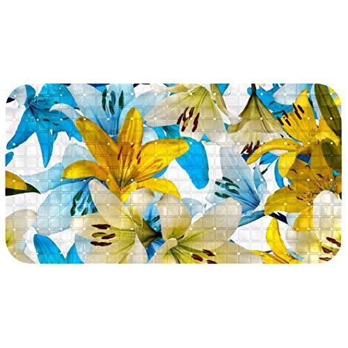 ASDQWE Alfombrilla antideslizante para bañera con diseño de flores, color azul y amarillo