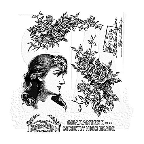 """Stampers Anonymous CMS255 Lady Rose Tim Holtz Cling Stamps, 7"""" by 8.5"""", Clear"""