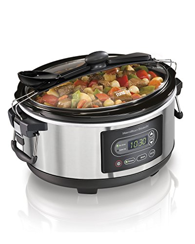 Hamilton Beach Portable 5-Quart Digital Programmable Slow Cooker with Lid Lock, Silver (33957)