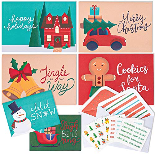 """Christmas Cards Pack. 36 Blank Greeting Cards with Envelopes and Christmas Stickers for Sealing. Assorted Holiday Cards Stationary Set. 4x6"""" Boxed Greeting Cards – Merry Xmas (Horizontal)"""