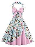 Babyonline - Vestido - Cuello hálter - Floral - Redondo - Sin Mangas - para Mujer Rosa Claro L