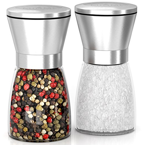 """MIUMI Salt & Pepper Mill Shakers Set of 2 - Premium Salt and Pepper grinder set, Adjustable and Easy To Use, Stainless Steel Top, Ceramic Rotor and a Thick Glass Body with Large Capacity (5.2"""" tall)"""