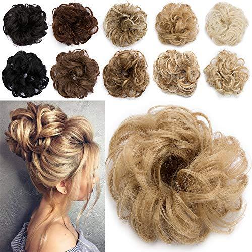 TESS Haarteil Dutt Blond mix Haargummi mit Haaren Kleine Haarknoten Hochsteckfrisuren günstig Haarverlängerung Extensions für Frauen 30g Ombre Hellbraun/Hell-Lichtblond