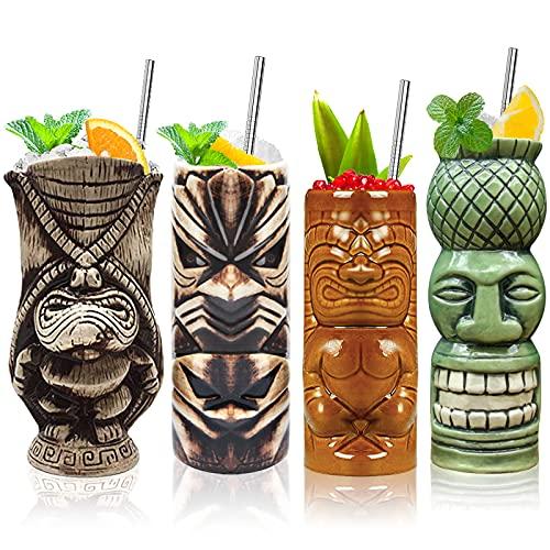 Tiki Glasses Tiki Mugs Set of 4 Ceramic Tropical Hawaiian Tiki Party Creative Cocktail Glass Drinks Large Party Bar Mugs Drinkware Premium Tropical Exotic Cute Cups Glasses Barware 4 Packs