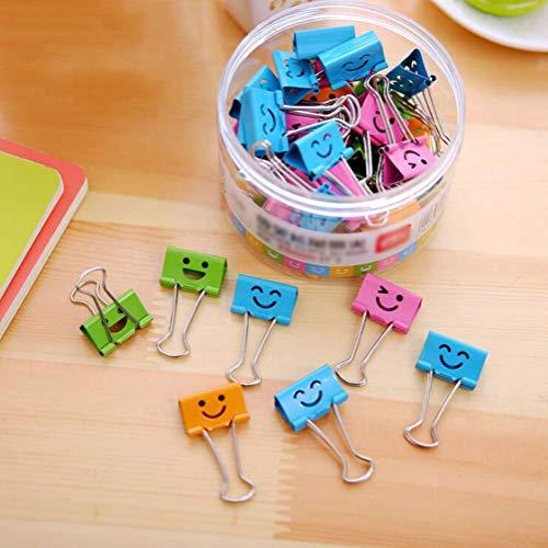 Preisvergleich Produktbild Coideal 40 Pack farbige Papierklammern mit niedlich liebevoll lächelndem Gesicht,  Dateiorganisator Papierhalter Metall Binder Clips,  verschiedene Farbe (19 mm