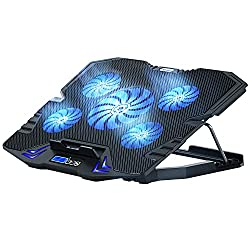 top rated TopMate C5 cooling pad for 10 to 15.6-inch gaming laptop cooler, 5 quiet fans and LCD screen, 5 heights … 2021