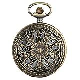 XIAOJIAN Exquisito reloj de bolsillo: reloj de bolsillo, flores de rosa de bronce antiguo Cubierta de flores de cinco puntas Cubierta floral Ratán Hollow Collar Colgante Colección de arte CÓDIGO COMOD