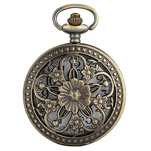 Exquisito reloj de bolsillo: reloj de bolsillo, flores de rosa de bronce antiguo Cubierta de flores de cinco puntas Cubierta floral Ratán Hollow Collar Colgante Colección de arte...