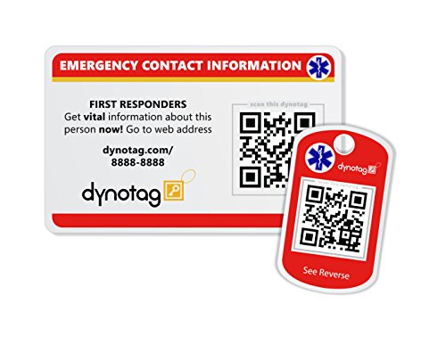 Dynotag SuperAlert™ Smart Medical ID with Detailed Online Profile; Wallet and Keychain Card kit with Lifetime Subscription