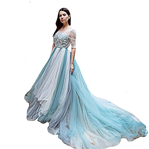 O.D.W Damen Vintage Rustikale Brautkleider Lange Hochzeitskleider(Grau Blau 2, 54)