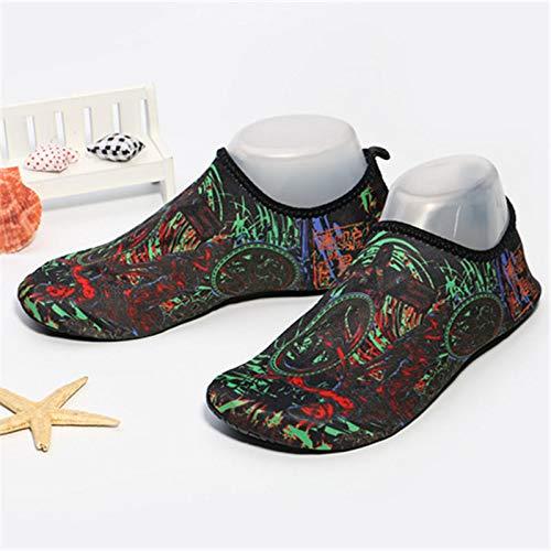 Zwemschoenen voor mannen en vrouwen, strandschoenen, snorkelen, zwemmen, schoenen, ademende loopbandschoenen. 35-36 groen
