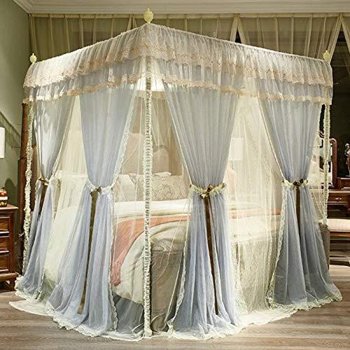 Mosquitera con parte superior cuadrada, 4 postes de esquina para cama, cortina, doble capa, elegante encaje, marco de cama, toldos, red, a prueba de polvo, 3 aberturas, decoración de dormitorio