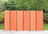 Angel Living Biombo de 6 piezas, pantalla plegable, separador de espacios, de acero y poliéster, terracota