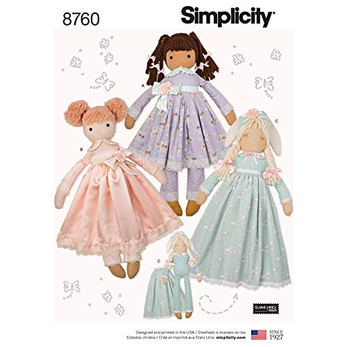 Simplicity US8760OS Stuffed Doll Toy Sewing Pattern Kit by Elaine Heigl, Code...