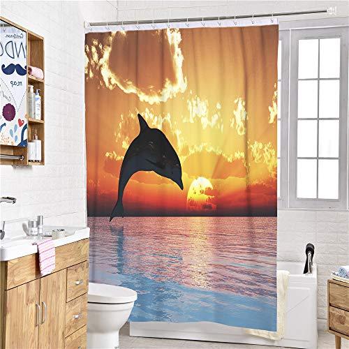 Chickwin Duschvorhang Wasserdicht Ozean Surfen Drucken, 100% Polyester 3D Stielvoller Digitaldruck mit 12 Duschvorhangringe für Badezimmer (90x180cm,Delphin)