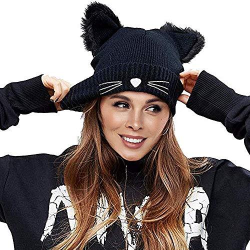 Richoose Strickmütze Damen Winter Strickmütze Mütze Damen Mode Wolle Nette Katzeohren Knit Beanie Hüte,Schwarz